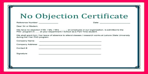no objection letter certificate for employee by department head