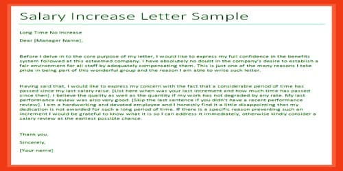 sample salary increment letter request for manager