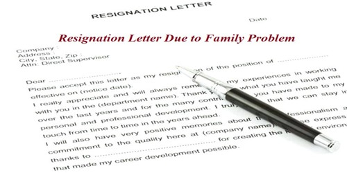 Sample Resignation Letter format Due to Family Problem - Assignment ...