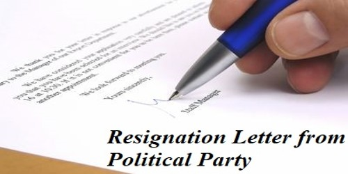 Sample Resignation Letter from your Political Party