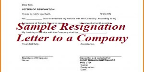 Sample Resignation Letter format to a Company