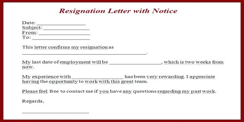 sample resignation letter format with notice