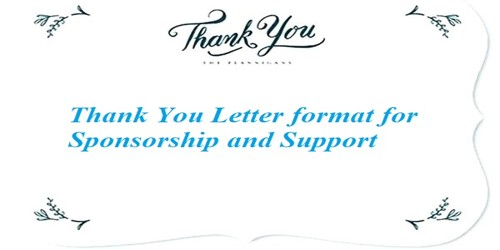 Sample Thank You Letter format for Sponsorship and Support