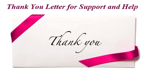 Thank You Letter for Support and Help in Event