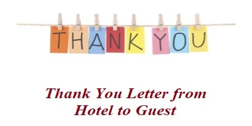 Sample Thank You Letter from Hotel to Guest - Assignment Point