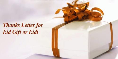 Sample Thanks Letter for Eid Gift or Eidi