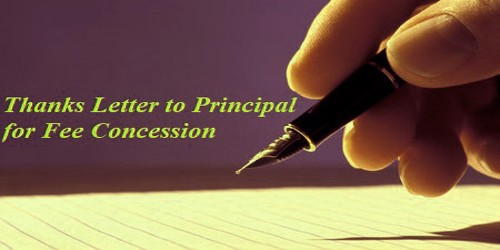Sample Thanks Letter to Principal for Fee Concession