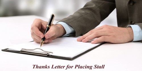 Sample Thanks Letter format to Exhibitor for Placing Stall