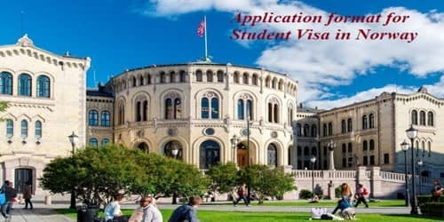 Sample Application format for Student Visa in Norway