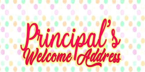 Welcome Address Format To The New Principal Assignment Point