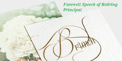 Farewell Speech sample format of Retiring Principal