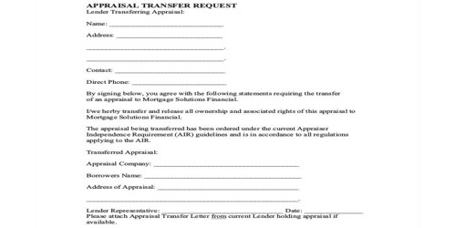 Appraisal Transfer Letter to Employee