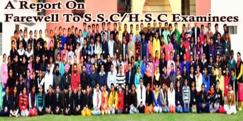 A Report On Farewell To S.S.C/H.S.C Examinees At (Institution Name)…….School/College