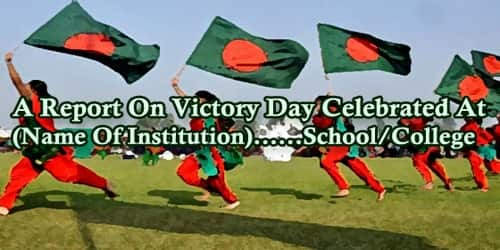 A Report On Victory Day Celebrated At (Name Of Institution)……School/College