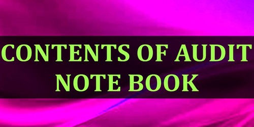 Contents of Audit Note Book
