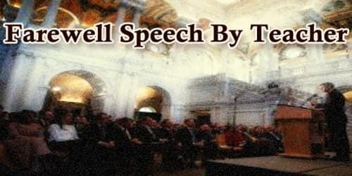 Farewell Speech By Teacher