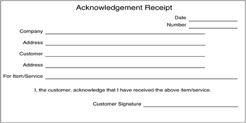 Common Acknowledgement Receipt Format