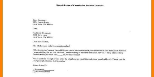Contract Termination Letter with Company