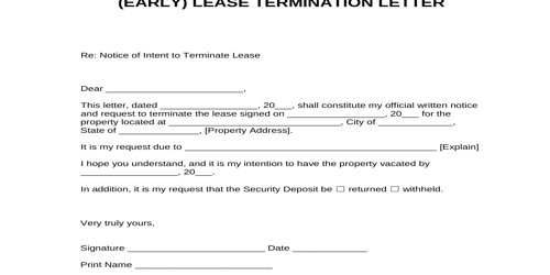Sample Early Lease Termination Letter Format