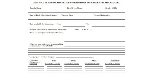 Sample Internship Application Form Format