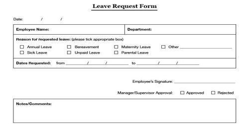 Sample Leave Application Form Format