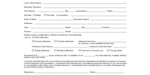 Sample Membership Form Template