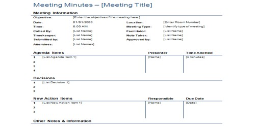 Sample Minutes of Meeting Template or Form