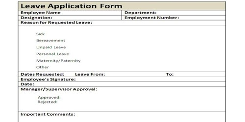 Official Leave Application Form Format