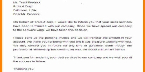 Sample Sales Termination Official Letter