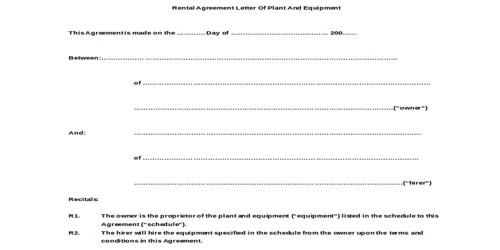 Sample Tenancy Agreement Letter