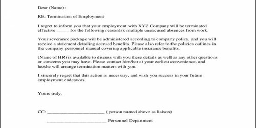 Sample Termination Letter for Absenteeism in Office