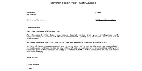 Employee Termination Letter for Misconduct