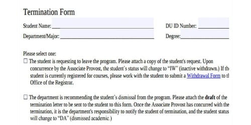 Sample Termination Letter for Student