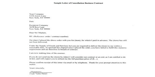 Letter of Termination of the Business Agreement