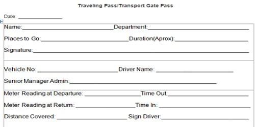 Sample Transport Gate Pass Form