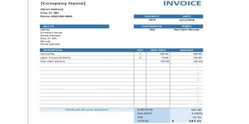 Sample Maintenance Invoice Template Form