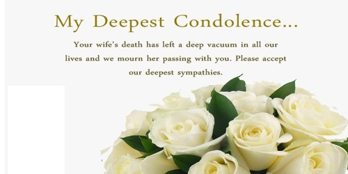 Sample Sympathy Letter format for Loss of Wife