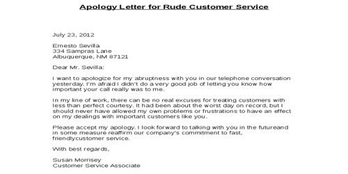 ApologyLetter for Rude Behavior