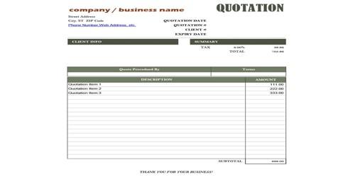 Sample Business Quotation Letter