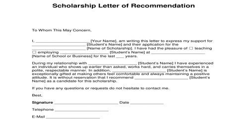 Reference Letter for a Scholarship Applicant from Employer
