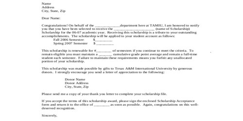 Sample Scholarship Award Letter Format