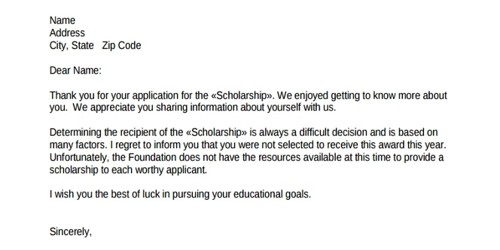 Scholarship Rejection Letter to Applicant