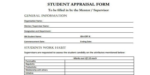 Student Appraisal Form