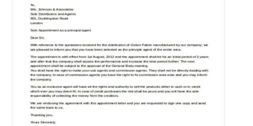 Confirmation letter for Appoint New Sales Representative