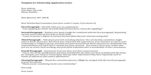 Sample College Scholarship Letter Format