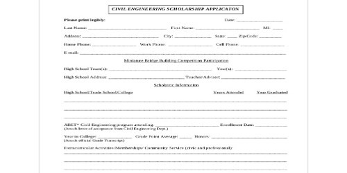 Sample Engineering Scholarship Letter Format