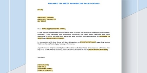 Warning Letter for Failure to Meet Minimum Sales Goals