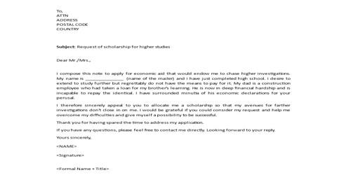 Sample Higher Studies Scholarship Letter Format