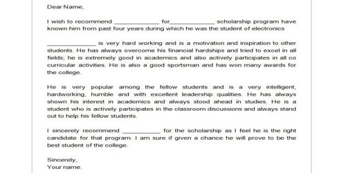 A Recommendation for the Scholarship Program