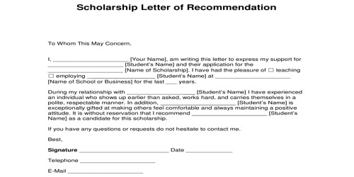 Letter for Recommendation of Scholarship